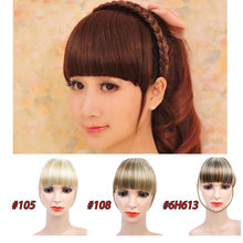 HiDoLA fashion women High Temperature Fiber Synthetic Hair Extensions with  Headband Bangs Fringe Neat Headwear недорого