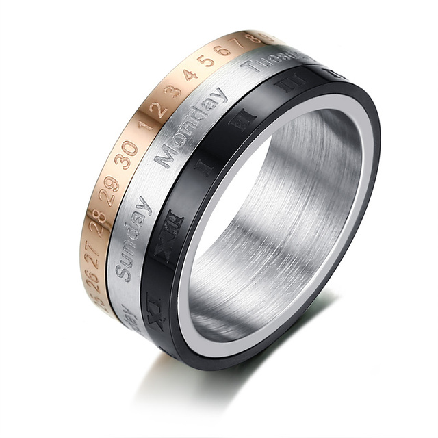 Three Piece Fid Spinner Ring for Men Arabic and Roman Numerals