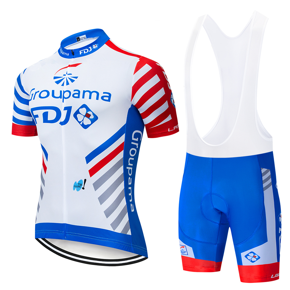 TEAM NEW FDJ Cycling Clothing Bike jersey Ropa Quick Dry Mens Bicycle summer pro Cycling Jersey 9D pad bike Maillot Culotte