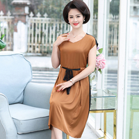 Women Silk Dress New Summer Elegant Female Patchwork Colors Dress Soft Silk Short Sleeved Silk Belt Dress