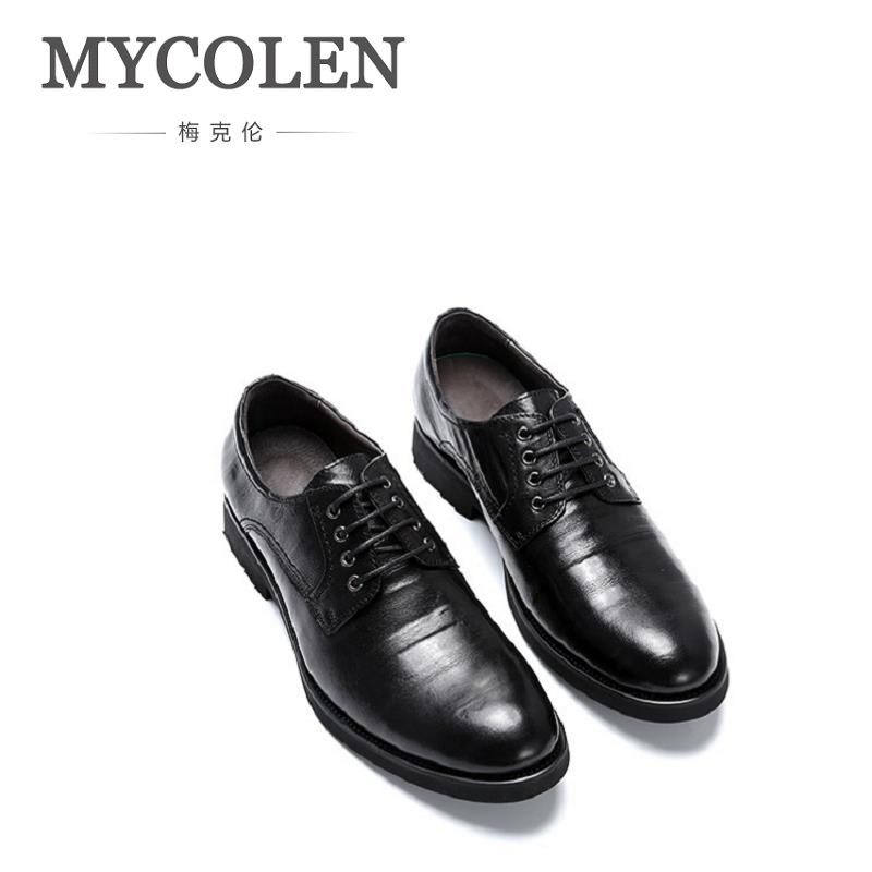 MYCOLEN The New Listing Men Leather Dress Shoes Business Formal Men Office Lace-Up Derby Shoes Form Men Zapato Formal Hombre mycolen new arrived brand men shoes black oxfords shoes pointed toe men flat business formal shoes lace up men s dress shoes