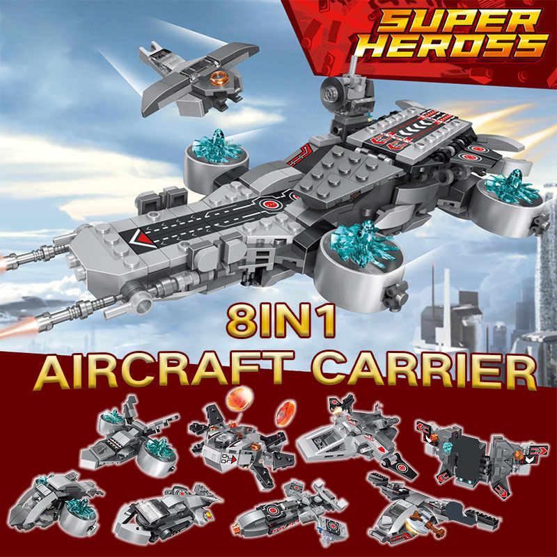 Щит авианосцев Marvel Супер Герои космический корабль железный человек экшн-фигурки блоки кирпичи игрушки для мальчиков 8 в 1