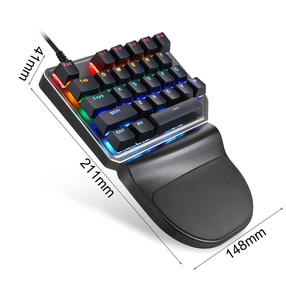 Motospeed K27 Mechanical keyboard Motospeed V30 Gaming Mouse USB Wired  Single handed Blue Switch Backlight For Computer Notebook
