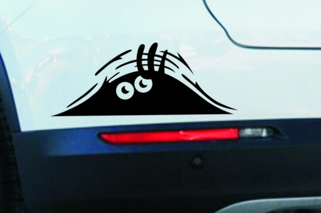 Craft paper high quality funny peeking monster auto car walls windows sticker graphic vinyl car decals