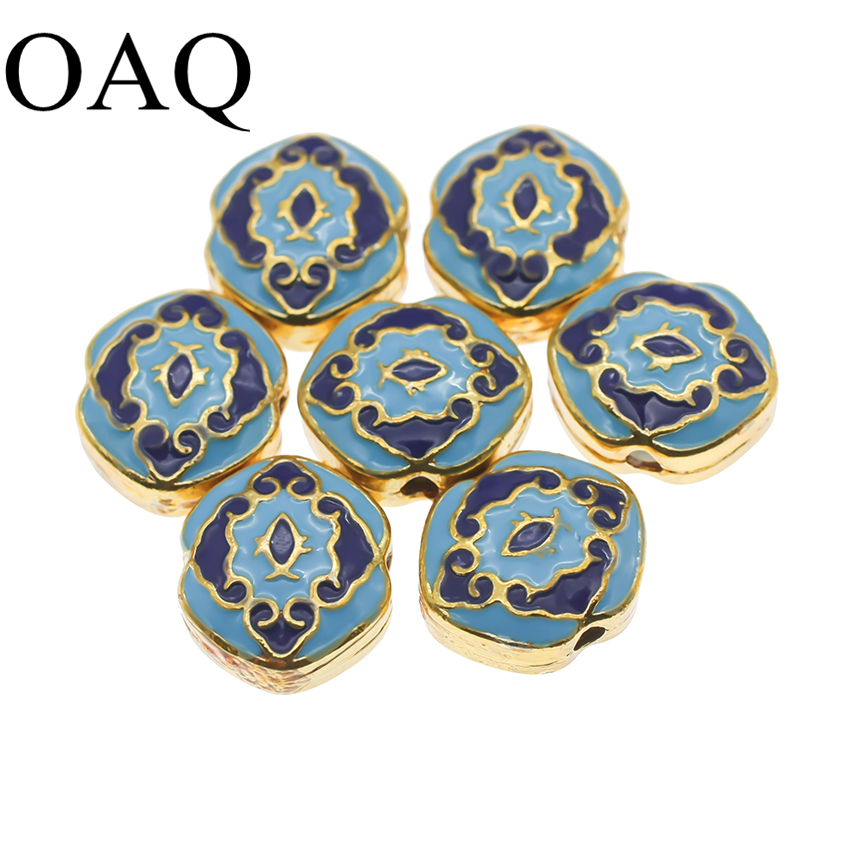 Cloisonne Beading Beads Metal Beads JEWELLERY Craft 14x15mm Pure Brass Jewelry Making 5pcs DIY Make UP Pendants