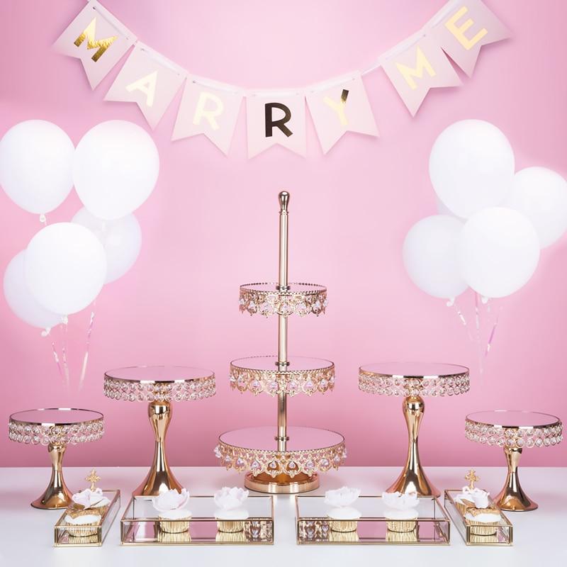 3 camadas carrinho do bolo de ouro do partido decoração de casamento bandeja de bolo prato de sobremesa