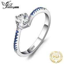 JewelryPalace Round Created Blue Nano Sapphire Anniversary Promise Engagement Ring Real 925 Sterling Silver Ring Jewelry
