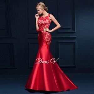 Image 3 - Dressv סקופ צוואר אפליקציות bowknot בת ים ארוך שמלת ערב אדום ללא שרוולים חצוצרת פורמליות שמלת מודרני בת ים שמלת ערב