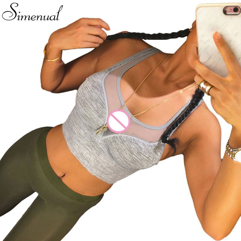 6f803778441f8 Athleisure bra hot sale 2017 fitness slim sexy mesh splice tank top fashion  bandage cropped tops active push up bralette sale