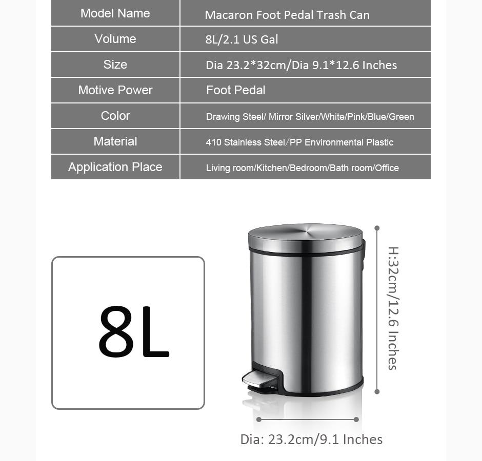 MR. BIN Макарон плюс мусорный бак с 5L/8L/12L ёмкость красочные педаль отходов Bin металлическая мусорная корзина для дома и кухня