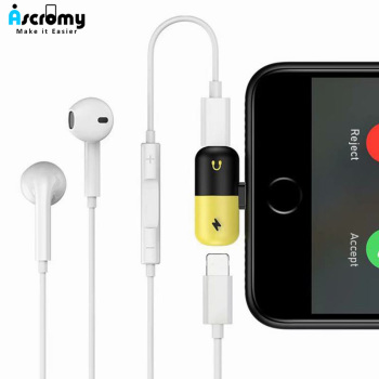 Ascromy Dual Ports Adapter Splitter For iPhone X 10 8 7 Plus XS Max XR 8plus Headphone Jack Aux Charging Cable Phone Accessories