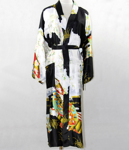 Promotion Black Silk Long Robe Chinese Vintage Women Rayon Nightwear Kimono Yukata Bath Gown Plus Size S M L XL XXL XXXL NR035