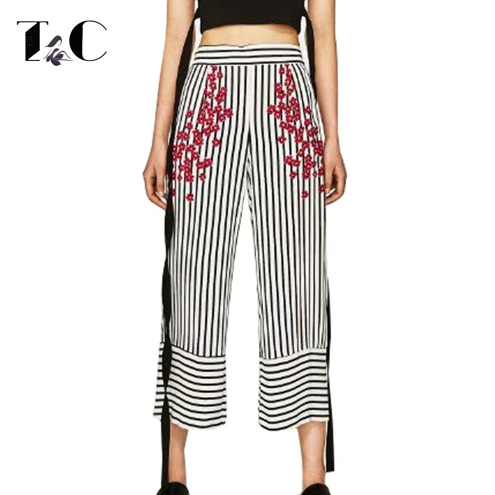 Tc Pantalones Rayados 2017 Moda Pantalones Flojos Mujeres Elegantes Pantalones De Rayas Verticales Negro De Cintura Alta Pantalones Anchos De La Pierna Aliexpress