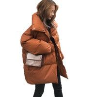 Winter Jacket Women Coats Parkas Thicken Down Cotton Padded Jacket Coat Outerwear Oversized Long Sleeve Ladies Coat Parka Q641
