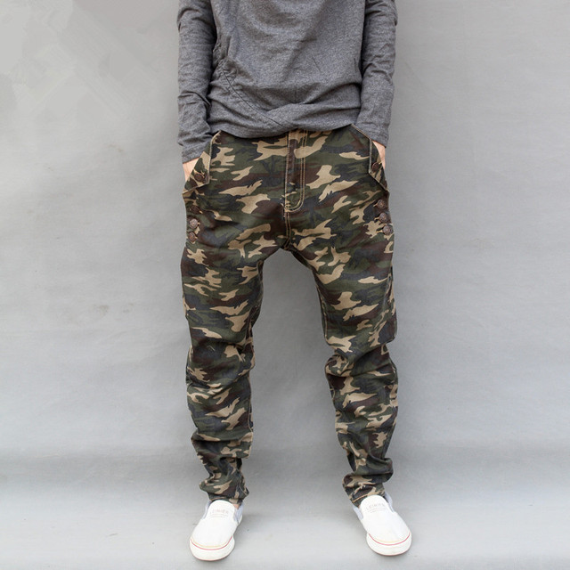 Men Camouflage Harem Pants Cotton Twill Camo Pattern Drop Crotch Elastic Pants Military Style Casual Pants Side Buttoned Hiphop