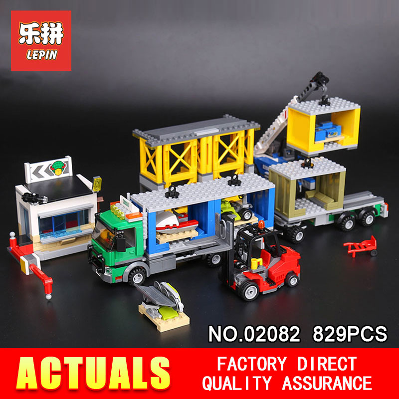 829Pcs Lepin 02082 Genuine City Series The Charge Terminal Set Building Blocks Bricks Toys Model for Children Gifts 60169 lepin city town city square building blocks sets bricks kids model kids toys for children marvel compatible legoe