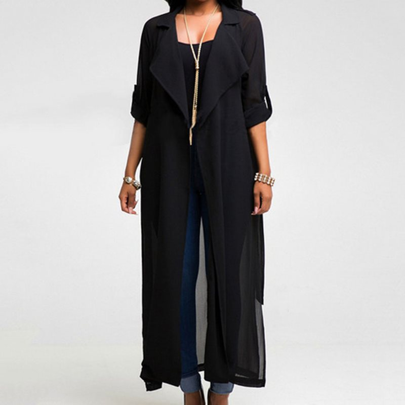 Fall Elegant African Vintage Plus Size Women Trench Coats Casual Loose Chiffon Thin Lace Up Plain Black Female Fashion Overcoats