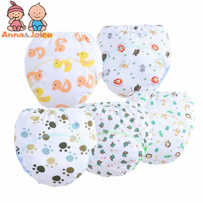 5pc/lot Boy Tranin Pants Baby Underwear  Reusable  Infant Nappy Cloth Diapers Learning Pants Baby Nappy Size 100 For 12-16kg