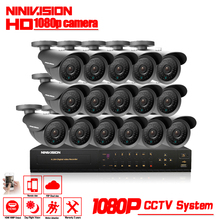 NINIVISION 16CH CCTV System 1080P AHD CCTV DVR System HD 16PCS CCTV Cameras 2.0MP Megapixels Enhanced IR Security Camera 2TB HDD