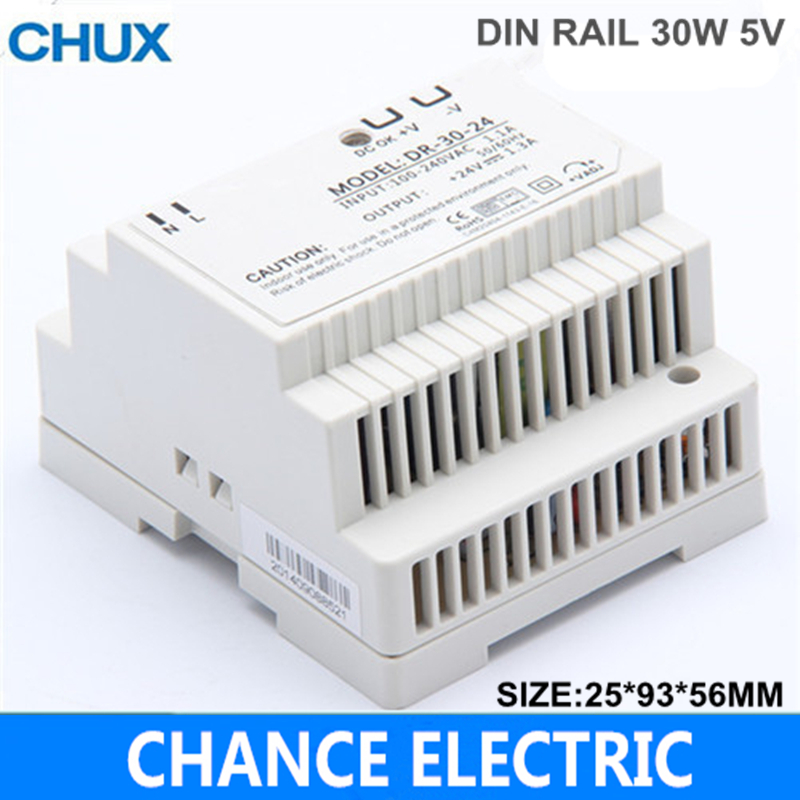 Din rail power supply 30w 5V power supply 5v 30w ac dc converter DR-30-5 good quality Free Shipping (DR-30W-5V) free shipping din rail power supply 60w 5v power suply 5v 60w ac dc converter dr 60 5 good quality from china factory