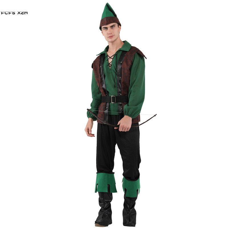 Hommes Halloween Robin Hood Costumes Paysan Fammer Cosplays Chasseur Archer Rôle jouer Carnaval Pourim parade Mascarade parti robe