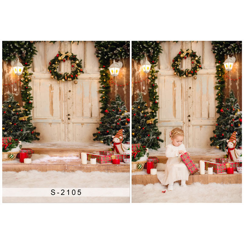 5X7ft Vintage wooden door Vinyl Photography Background Christmas tree and Gift box Gallery Backdrops for Photo Studio s-2105 vinyl photo background for baby studio props wooden floor christmas photography backdrops 5x7ft or 3x5ft jiesdx005