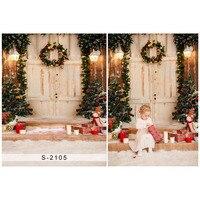 5x7ft Винтаж деревянные двери винил фотографии Задний план Рождество дерево и подарочной коробке галерея фонов для Аксессуары для фотостудий...
