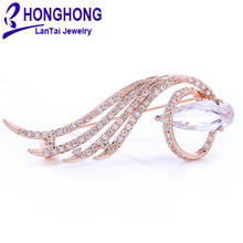 Элегантные женские броши в форме пера со стразами для свадебной вечеринки, женские броши в форме капли, булавки для женщин, ювелирные изделия