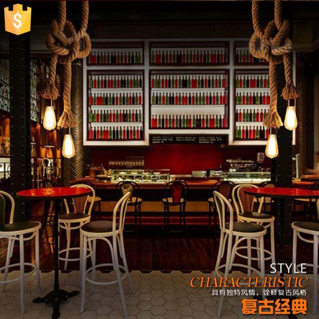 Ретро веревки подвесной светильник Лофт Винтаж лампы ресторан спальня столовая декоративная подвеска ручной вязки конопли веревки свет 2 ш…