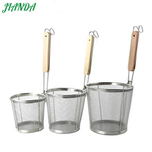цена JIANDA Frying Basket Strainer 304 Stainless Steel Fryer Cooking Colanders Chef Basket Kitchen Sink Strainer