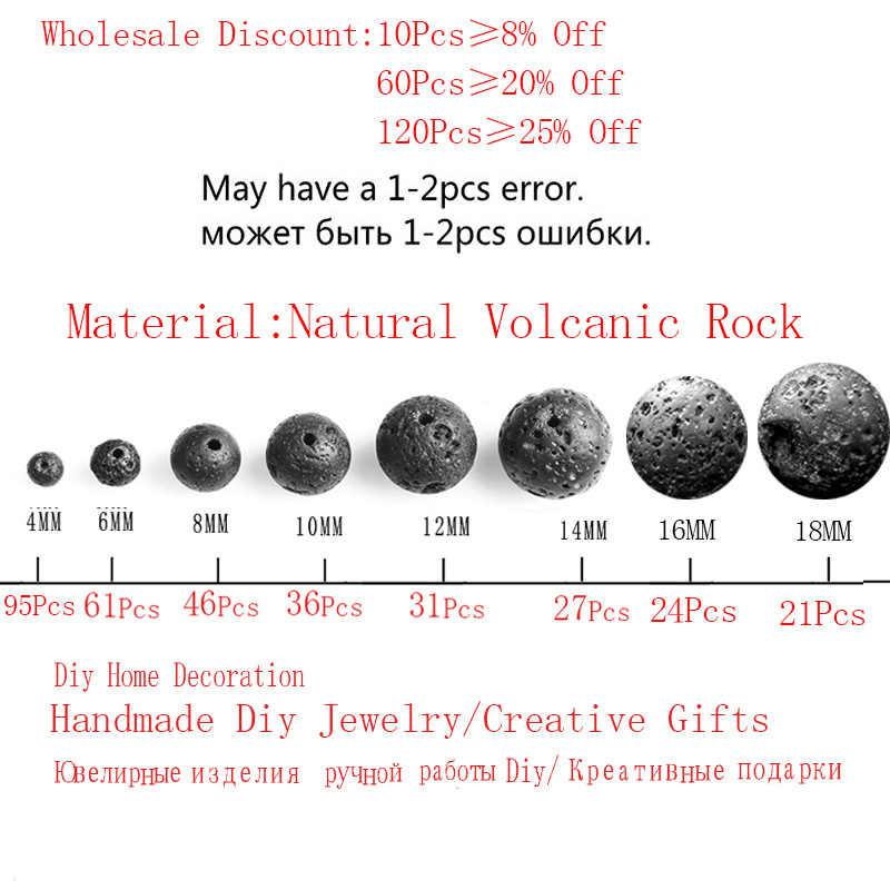 Naturstein Black Lava Vulkan Stein Lose Perlen 4 6 8 10 12 14 16 18 MM Fit Diy Charme Perlen Für Schmuck Machen Zubehör