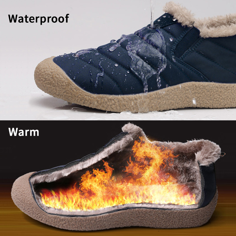Surom Winter Shoes Men Adult Warm Casual Shoes Waterproof Fabric Mens Boots Out Door Winter Male