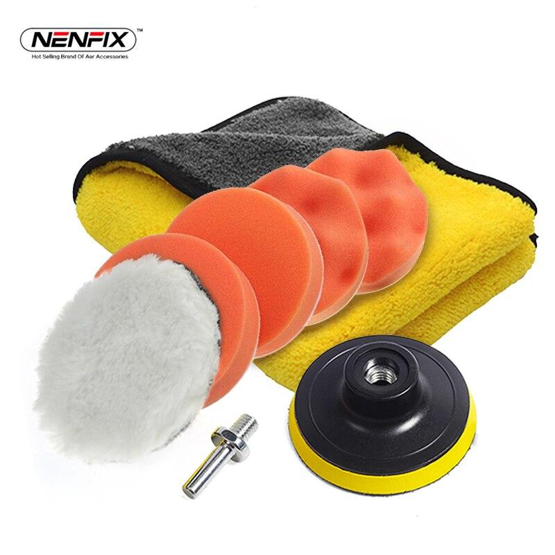 7 stücke 3' Auto Schwamm Polieren Pad Set & 1 stück 30*30 cm Auto Sauber Mikrofaser Handtuch Tuch für Auto Farbe Wachs Polierer Waschen Zubehör