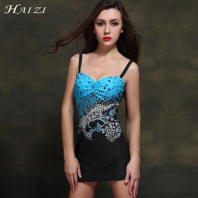 HAIZI New 2017 one piece Big Bra push up Printed Conversation swimsuit Plus Size Vintage women swimwear dress