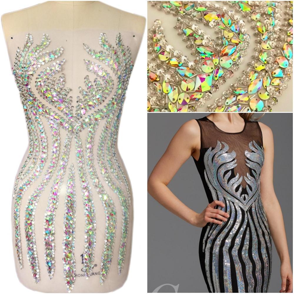 Haut fait à la main couture clair ab cristaux strass coudre pour les patchs de mariage robe vêtements décoration 33x65cm Applique vêtements