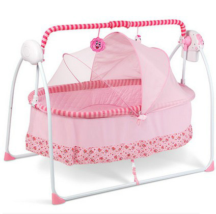 Baby bed electric shake simple folding bed cradle BB cradle with mosquito nets supplies baby bed