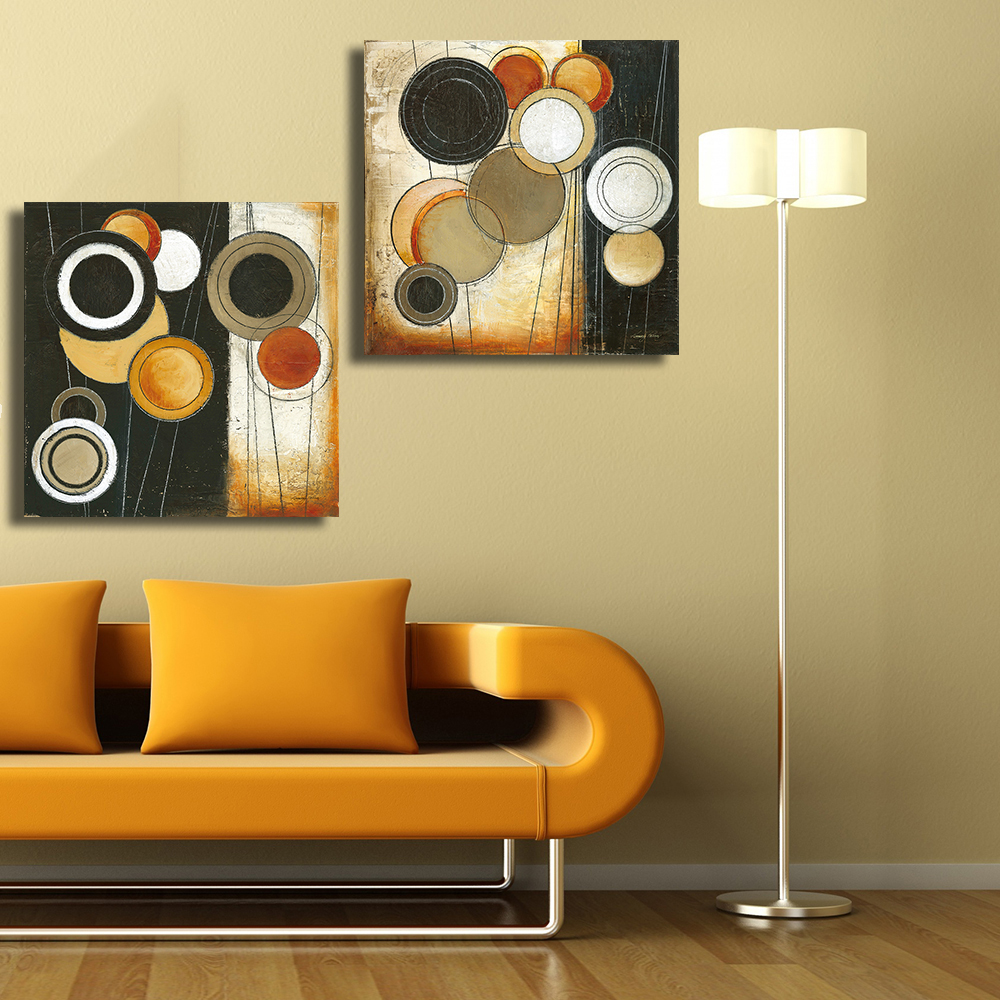 QKART Abstract Oil Paintings Canvas Leaf Collage Wall Pictures for ...