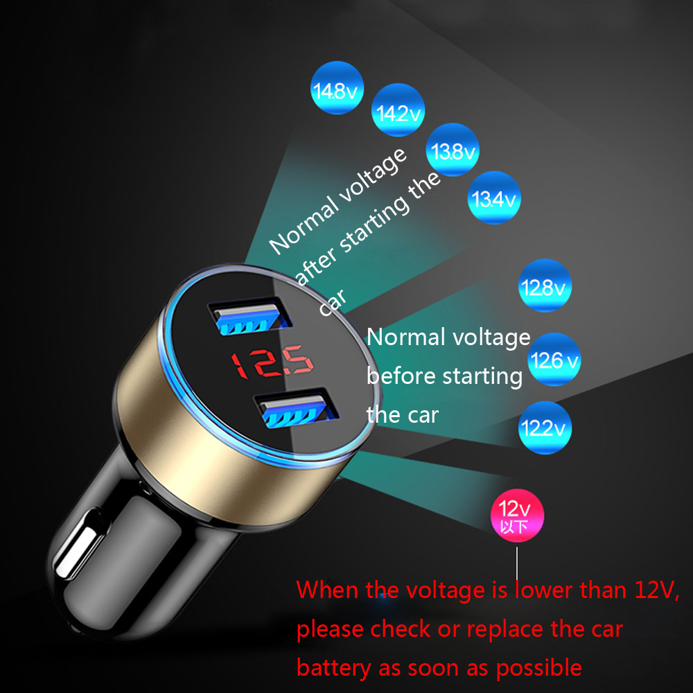 USB Car Charger With LED Display Universal Phone For Ginzzu S5050 S5040 S5140 <font><b>ST6040</b></font> Flycat Optimum 5501 Optimum 5004 image