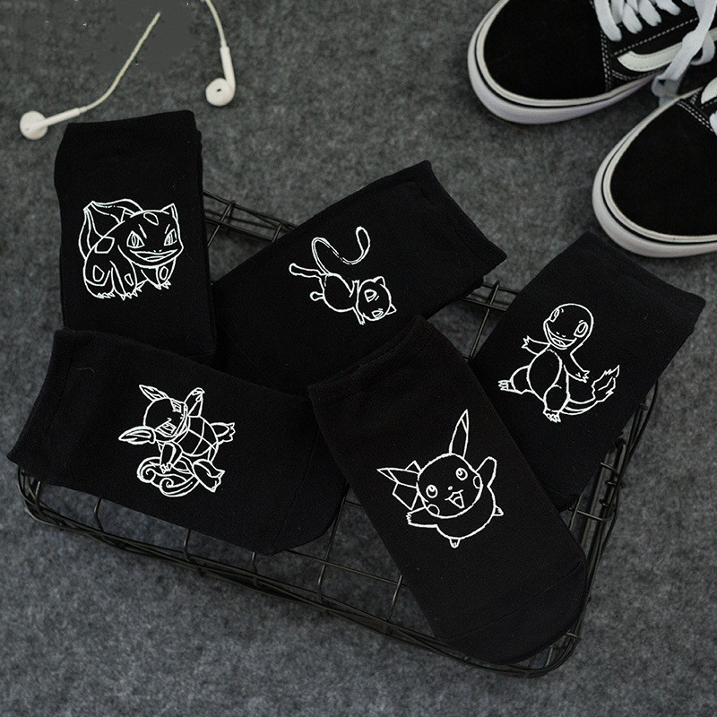 Pokemon 3D Printed Socks Unisex Couple Summer Invisible Socks Fashion Street Harajuku Black & White Short Socks