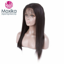 Moxika Hair 360 Lace Frontal Closure Brazilian virgin Straight With Closure 1 Bundle Pre Plucked With Baby Hair 10-22inch(China)