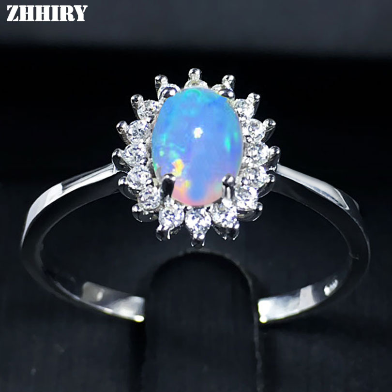 ZHHIRY For Woman Genuine Natural Fire Opal Pierścionek 925 Sterling Silver Rings Kolor Gemstone Fine Jewelry