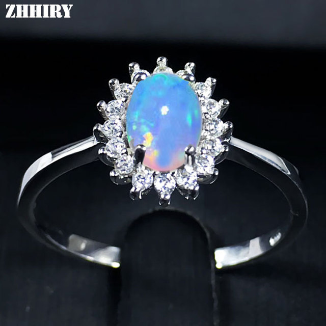 ZHHIRY For Woman Genuine Natural Fire Opal Ring 925 Sterling Silver Rings Color