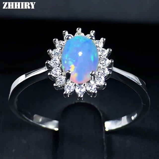 e7184bf8bea4 Zhhyy para mujer genuina natural ópalo de fuego anillo plata 925 Anillos  color Gemstone Joyería fina