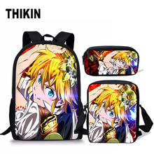 цена на THIKIN Seven Deadly Sins School Bag Set for Boys Girls Kids Schoolbag Children Anime 3PCS Nanatsu No Taizai Meliodas Elizabeth