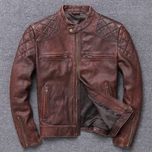 Men Genuine Leather Jacket Vintage Grey And Brown Biker Genuine Leather Jacket For Men Cow Leather cheap Leather Suede Short Stand COTTON Full Slim Zippers Pockets DAYDAYFASHION NONE Solid STANDARD Casual