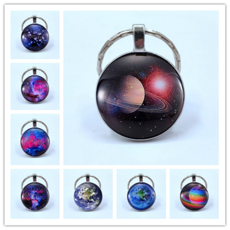 Sky Star Blue Earth Time Gem Mars Keychains Jewelry Galaxy Universe Space Planet Pendant Keychain Gift
