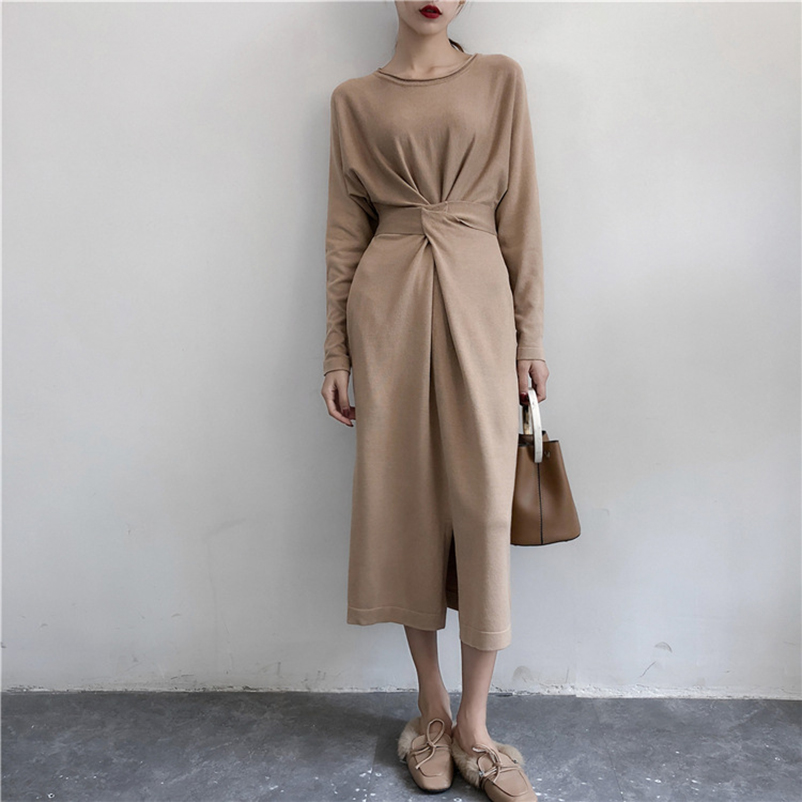 2018 New Korean Brief Designer Women Knitted Dress Long Sleeve Twist Knot Lace Up Split Autumn Long Dress Bandage Dresses