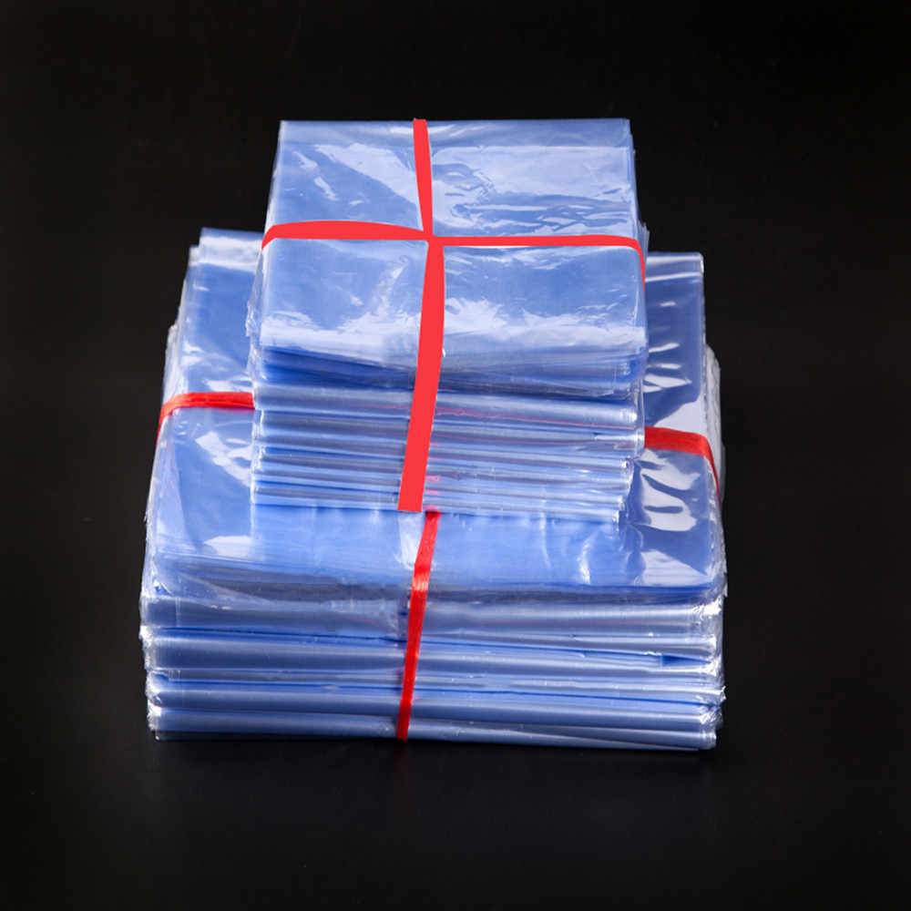 200Pcs/Lot Clear Transparent PVC Heat Shrink Plastic Packaging Bag Soft Film Wrapping Storage Pouch Gift Craft Party Pack Bags