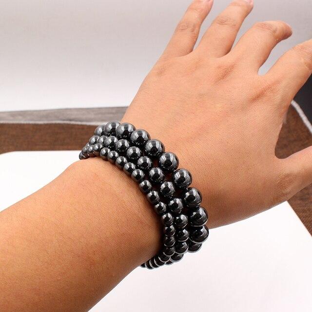 модные черные магнитные гематит 6/8/10 мм каменные бусины браслет фотография