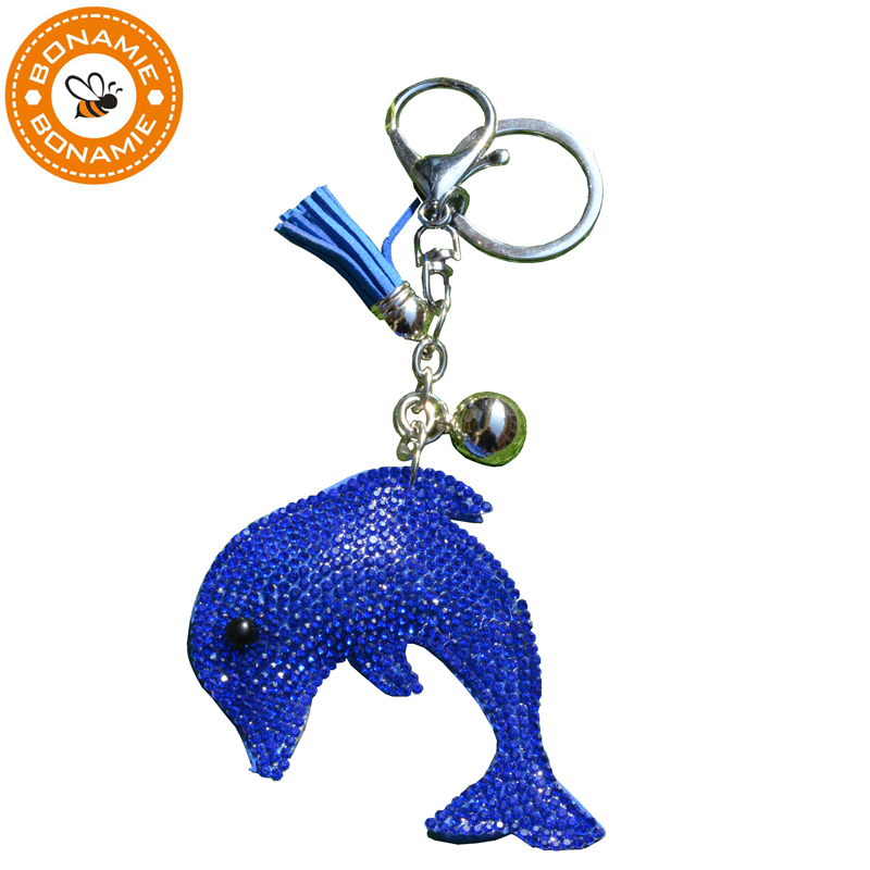 BONAMIE Sequins Dolphin Bag Decoration Keychain Bag Hanger Jewelry Leather Pendant Gift  ...